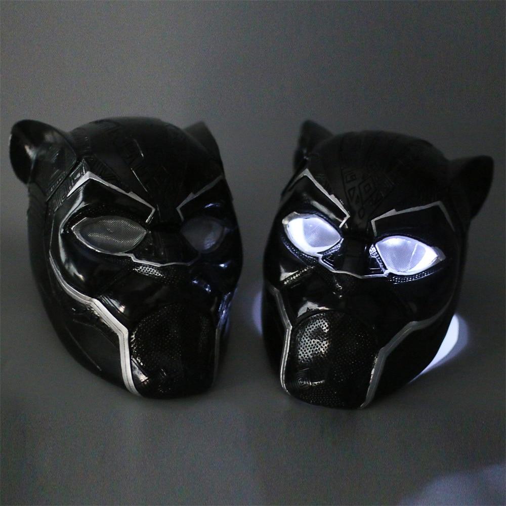 2018 New Black Panther Helmet with Led Light Cosplay T'Challa Mask Costume Halloween Helmet Handmade PVC prop