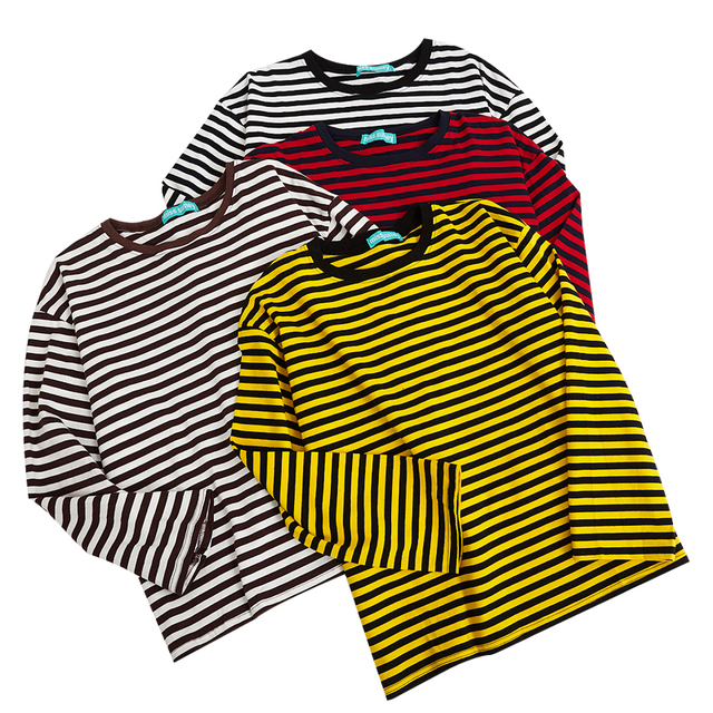 2017 New Vintage Fashion Basic Loose Casual Striped All Match Simple Long Sleeve Female T-shirts