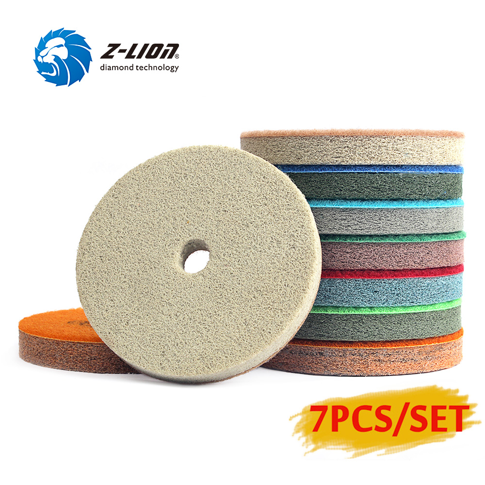 Z-Lion 4 Inch 7pcs/Set Sponge Marble 100mm Diamond Sponges For Polishing Wet Using Stone Buff Granite Marble Polishing Pads