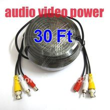 30 Feet Video Audio Power Extension CCTV Cable For Security Camera a82