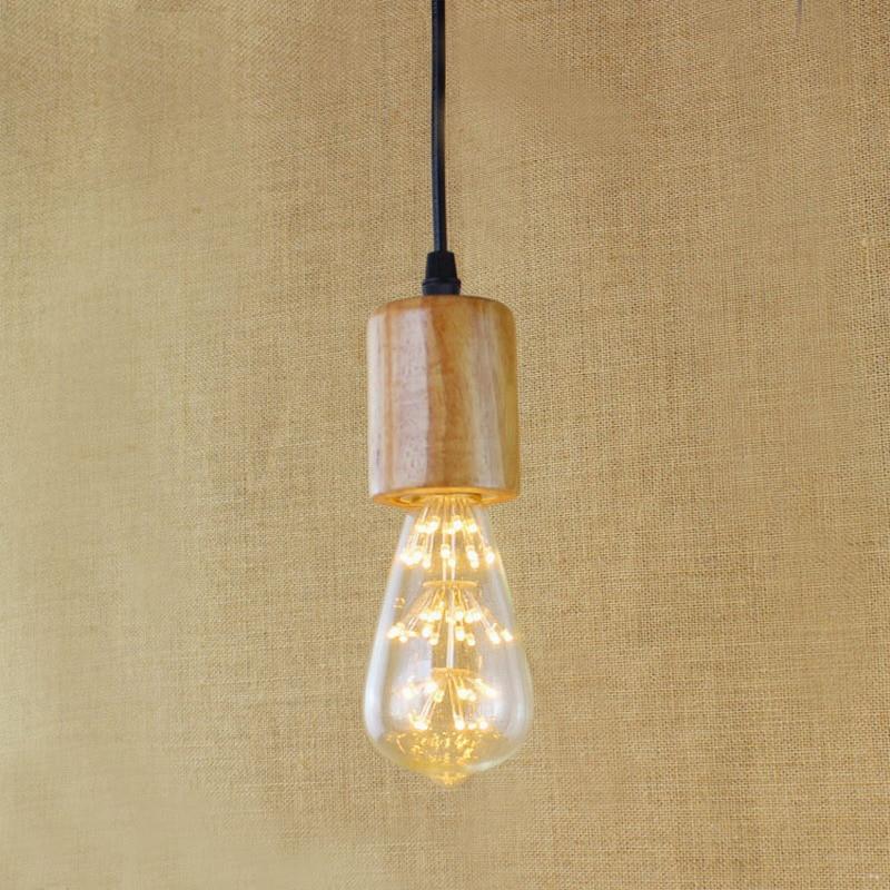 Simple Single Head Pendant Light Nature Wooden Pendant Lamp Modern Droplight Hanging Light Fixture Kitchen Lighting