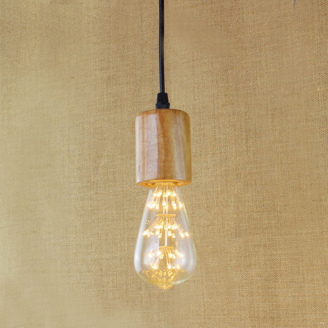Simple Single Head Pendant Light Nature Wooden Pendant Lamp Modern - Single kitchen light fixture