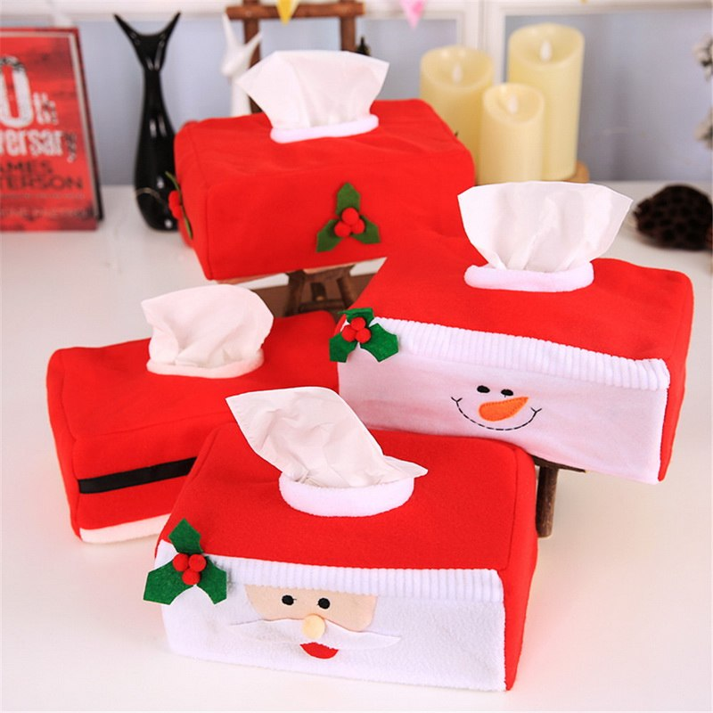 Urijk Tissue Box Case Holder For Paper Towels Santa Claus Snowman Christmas Dinner Table Decorations for Home New Year Party