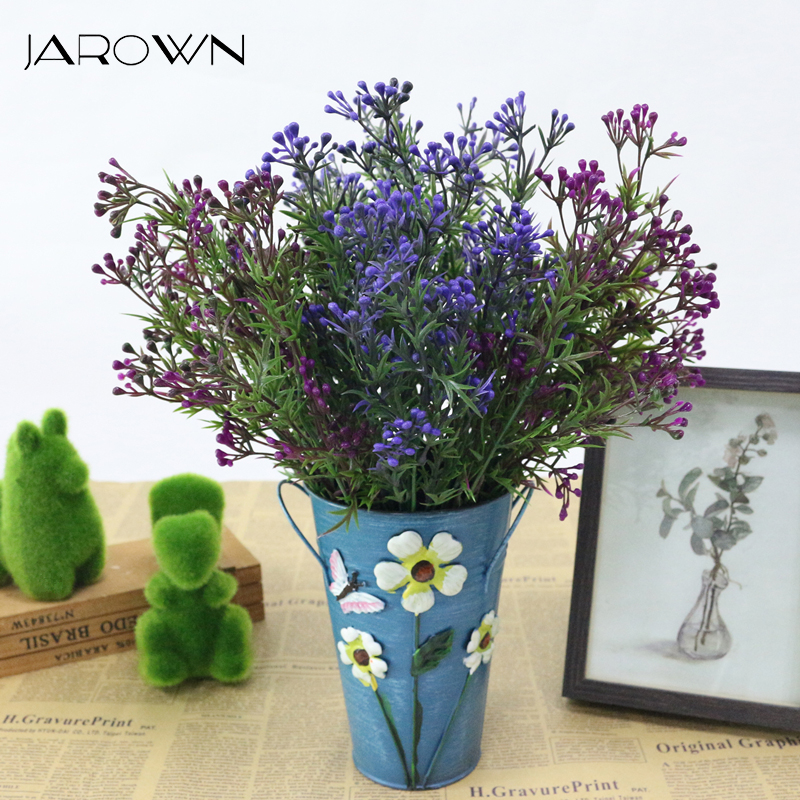 JAROWN Artificial Milan Fruits Plastic 5 Branch Fake Bouquet Flower Arrangement Accessories Home Decor Garden Green Plants