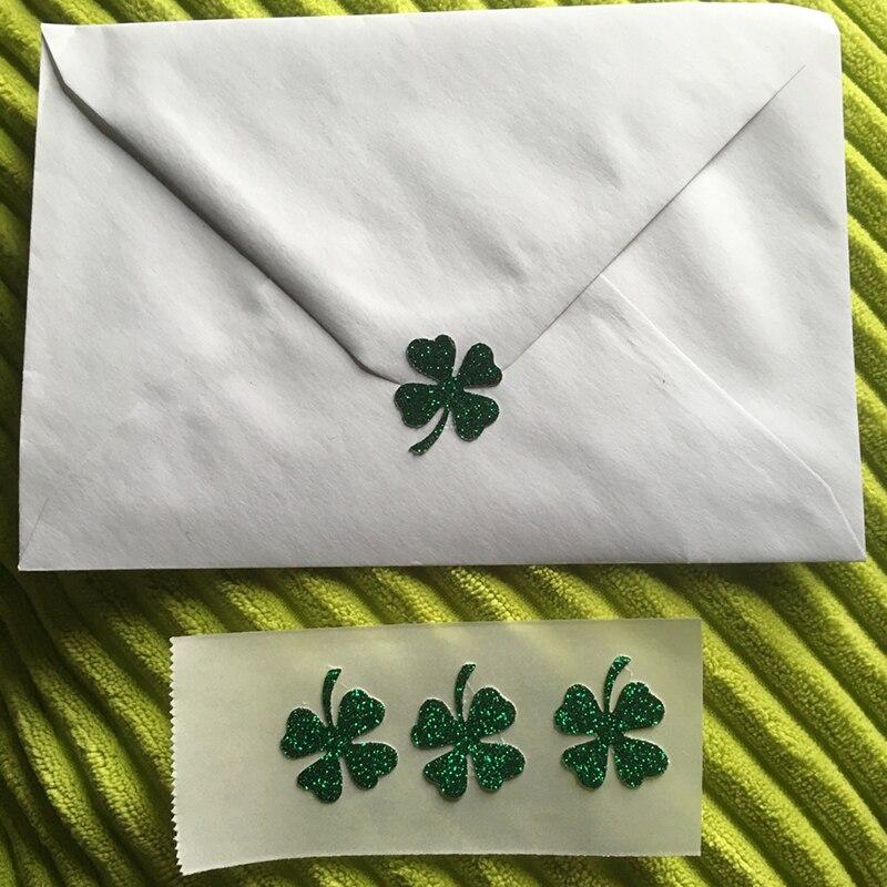 Invitation Seals 007 Source Aliexpress Green Glitter Lucky Irish Four Leaf Clover
