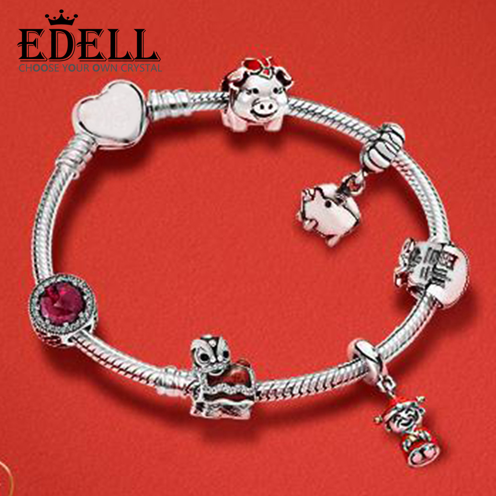 EDELL 100% 925 Sterling Silver Bracelet Set Happy Pig Cute Red Lion Dance Full of Auspicious Blessings To Celebrate The New YearEDELL 100% 925 Sterling Silver Bracelet Set Happy Pig Cute Red Lion Dance Full of Auspicious Blessings To Celebrate The New Year