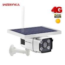 Беспроводная ip камера на солнечной батарейке, 4G, SIM карта, 1080P, HD цилиндрическая ИК камера безопасности с ночным видением, камера видеонаблюдения на солнечной батарее