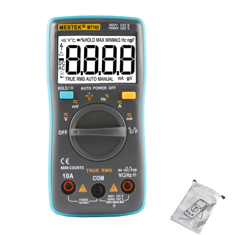 MESTEK MT101/MT102 digital multimeter professional probe tester 6000 counts Resistance Capacitance ACA/DCA meter