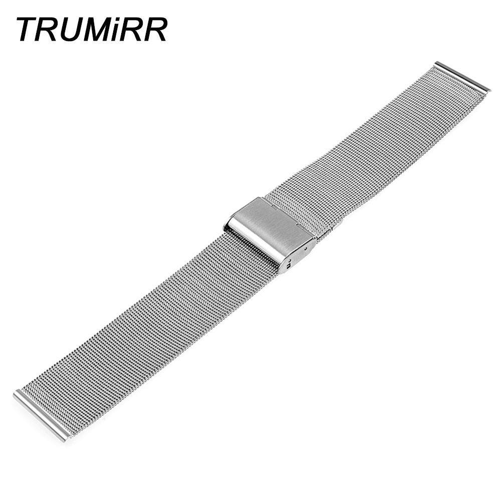22 mm-es rozsdamentes rozsdamentes acél karóra karkötő kavicsos időhöz / acél Asus Zenwatch 2 LG G karóra W100 W110 Urbane W150