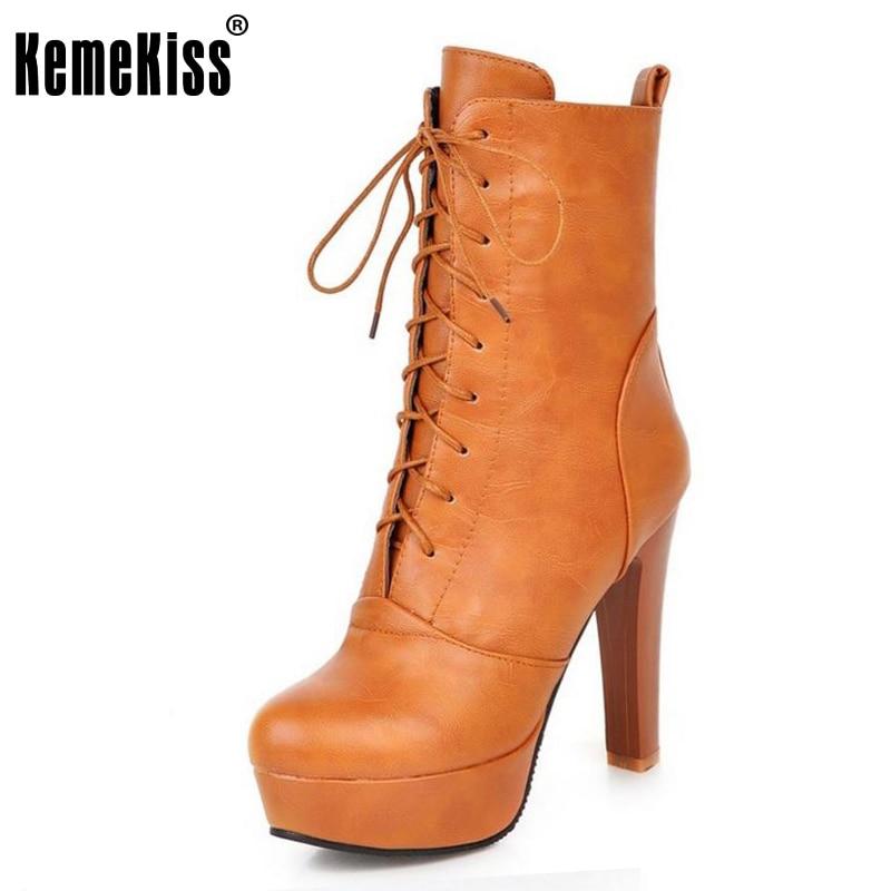 KemeKiss Women High Heels Boots Solid Color Cross Strap Mid Calf Shoes Women Mature Platform Office Dress Footwear Size 32-45 kemekiss size 33 42 women s high heel wedge shoes women cross strap platform pumps round toe casual mixed color ladies footwear