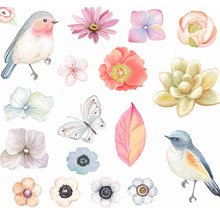 New 52Pcs Bird Language Floral Sticker Handbook Album Decoration Fresh Watercolor Cute Diary Scrapbooking Flakes School Supplies(China)