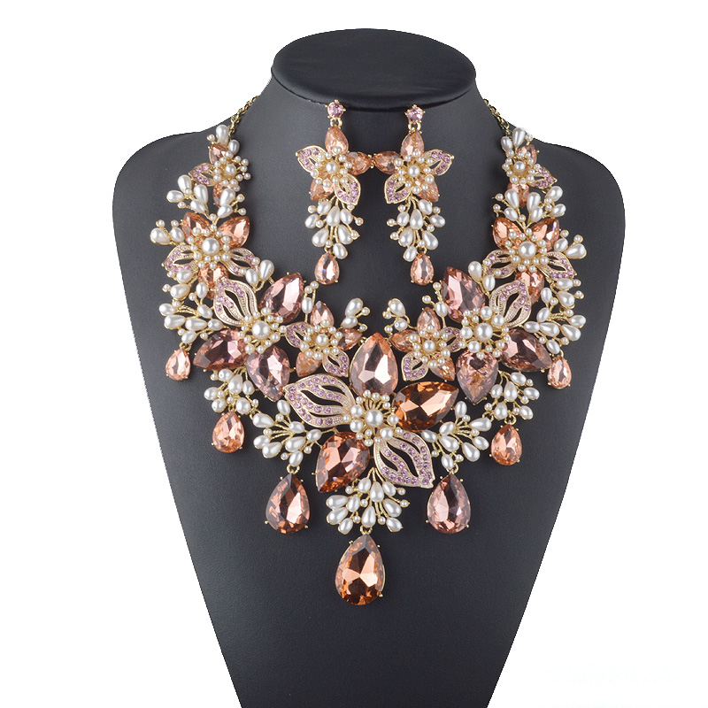 Cristal formel fleur strass blanc perle de mariage collier de mariée ensemble femmes fête bijoux ensemble couleur pêche déclaration bijoux