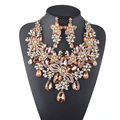 Formal Crystal Flower Rhinestone White Pearl  Wedding Bridal Necklace Set Women Party Jewelry Set Peach Color Statement jewelry