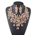 Formal de la Flor de Cristal Rhinestone de la Perla Blanca de La Boda Nupcial Del Collar de la Joyería Partido de Las Mujeres Conjunto Melocotón Color joyería Declaración