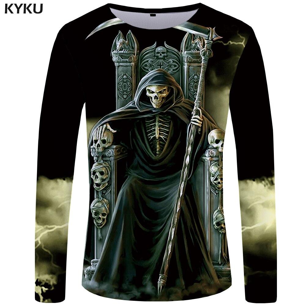 KYKU Brand Dragon Ball Z   T     shirt   Men Long sleeve   shirt   Cobra Clothes Dark Funny   T     shirts   Terror Mens Clothing