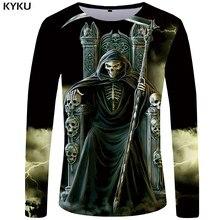 Kyku marca crânio manga longa t camisa men grim reaper tshirt gótico 3d camiseta engraçado t camisas punk rock masculino roupas de verão topos