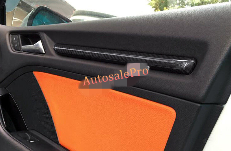 New Real Carbon Fiber Interior Inside Inner Door Stripe Cover Trim 4pcs For Audi A3 8V 2012 2013 2014 2015 2016