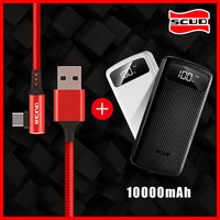 Scud Power bank 10000mAh+ Type C USB cable with LED digital display powerbank for Xiaomi Huawei LG Samsung mobile phone Androidt