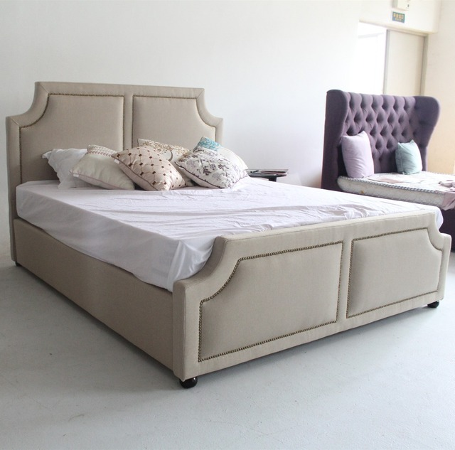 Modern furniture home design latest white double bed frames in China ...