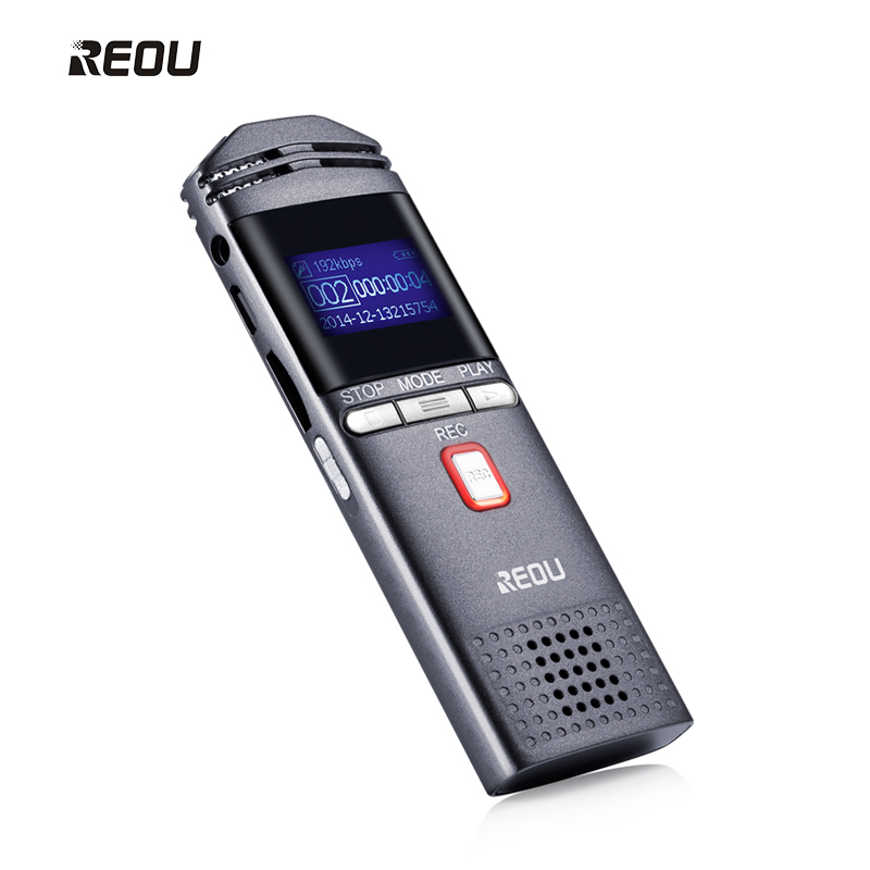 REOU Digital Voice Recorder Non Stop 100hr 16GB Voice Activated Recorder With MP3 Player DSP Noise Reduction Dictaphone Recorder