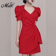 Max Spri 2019 Fashion Women Dress V-neck Puff Short Sleeve Draped Asymmetric Decor Party Mini For