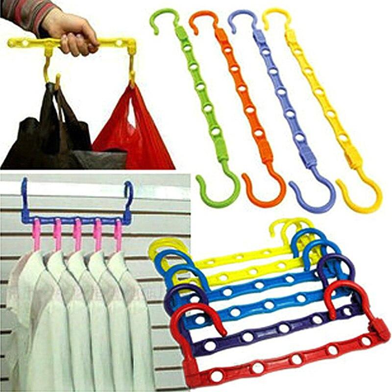 2Pcs Useful 5-Hole Space Saver Wonder Magic Hanger Hook Closet Organizer  Promotion(China