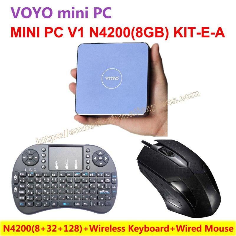 VOYO Mini PC V1 N4200 (8+32+128) Windows 10 Pocket PC Intel Lake Apollo CPU+Wireless Keyboard+Wired Mouse=N4200(8+32+128)KIT-E-A