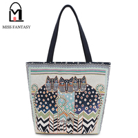 Vintage Women S Canvas Handbag Beach Bag Ladies Embroidery Two Cats Shopping Bags Big Tote Travel