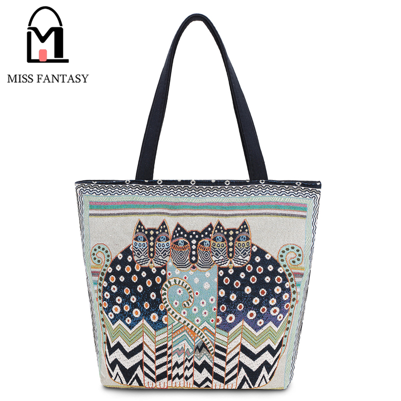 где купить 2017 Women Bag Canvas Shoulder Bag Vintage Embroidery Cats Clutch Handbag Female Shopping Bag Travel Summer Beach Bag for Girls дешево