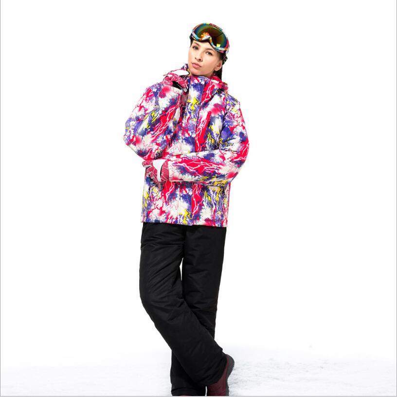 2017 KAKILG Бренд Женская Лыжный костюм куртка+брюки Водонепроницаемый Ветрозащитный спорт на открытом воздухе одежда тепловой Утолщаются женщины пальто+брюки Новый