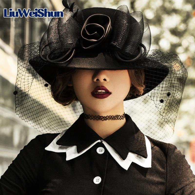 [LiuWeiShun] 100% Austrilian Wool Felt Fedora Hat for Women Silk Floral Gauze Hepburn Hat British Bucket Church Hat Cap Female hat for women 100