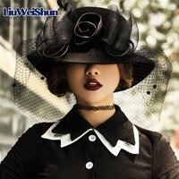 [LiuWeiShun] 100% Austrilian Wool Felt Fedora Hat for Women Silk Floral Gauze Hepburn Hat British Bucket Church Hat Cap Female