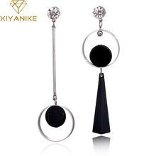 XIYANIKE Korean Fashion Geometric Long Asymmetry font b Earring b font Rhinestone Circle Ear Stud New
