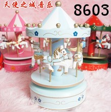 New Wooden Merry-Go-Round Carousel Music Box For Kids Wedding Gift Toy Home Decor Music Box