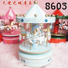 New Wooden Merry-Go-Round Carousel Music Box Ornaments For
