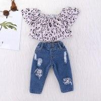 Kids Baby Girls Clothing Set Toddler Baby Girls Clothes Set Leopard Off Shoulder Tops Shirt + Denim Pants 2 Pcs Baby Girl Outfit