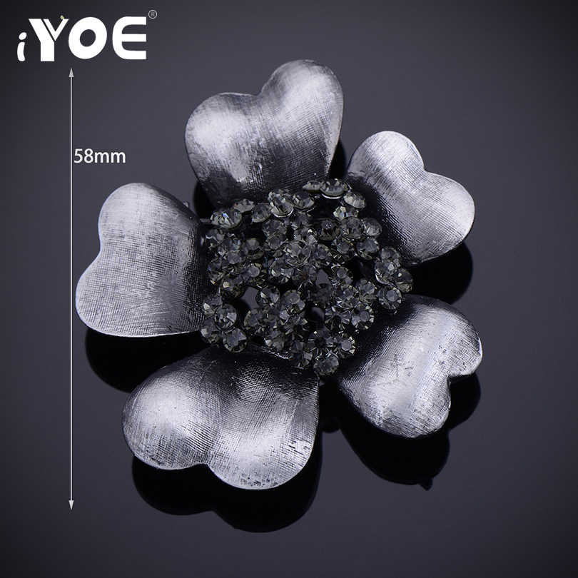 IYOE Vintage Flower Brooches for Women Punk Gun Matel Black Natural Stone Pins Brooch Pendant Dress Accessories Bouquet Wedding