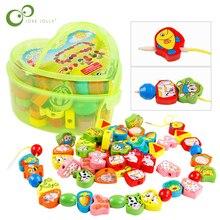 26 sztuk bloki zwierzęta kreskówkowe blok owoców drewniane zabawki sznurki gwintowanie koraliki gry edukacyjne zabawki dla dziecka dzieci dzieci GYH