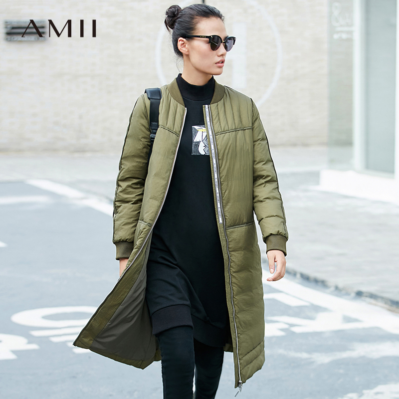 Amii Women 2018 Winter Solid Spliced Thick 90% White Duck   Down     Coat   Female Fashion Light Long Jacket   Coats