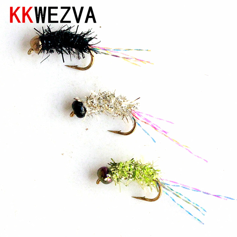 36PCS/Set Portable Boxed Colored Ceramic Bead Bright Body Nymph Scud Midge Fly Fishing Flies for Fly Trout Fishing Lures Baits