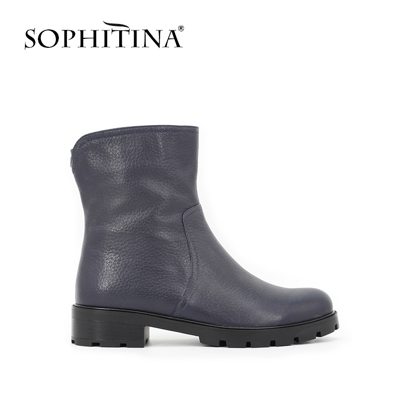 SOPHITINA Luxury Brand Cow Leather Boots Woman Dark Blue Genuine Leather short Plush Winter lady shoes Zipper Round Toe B046 vik max adult kids dark blue leather figure skate shoes with aluminium alloy frame and stainless steel ice blade