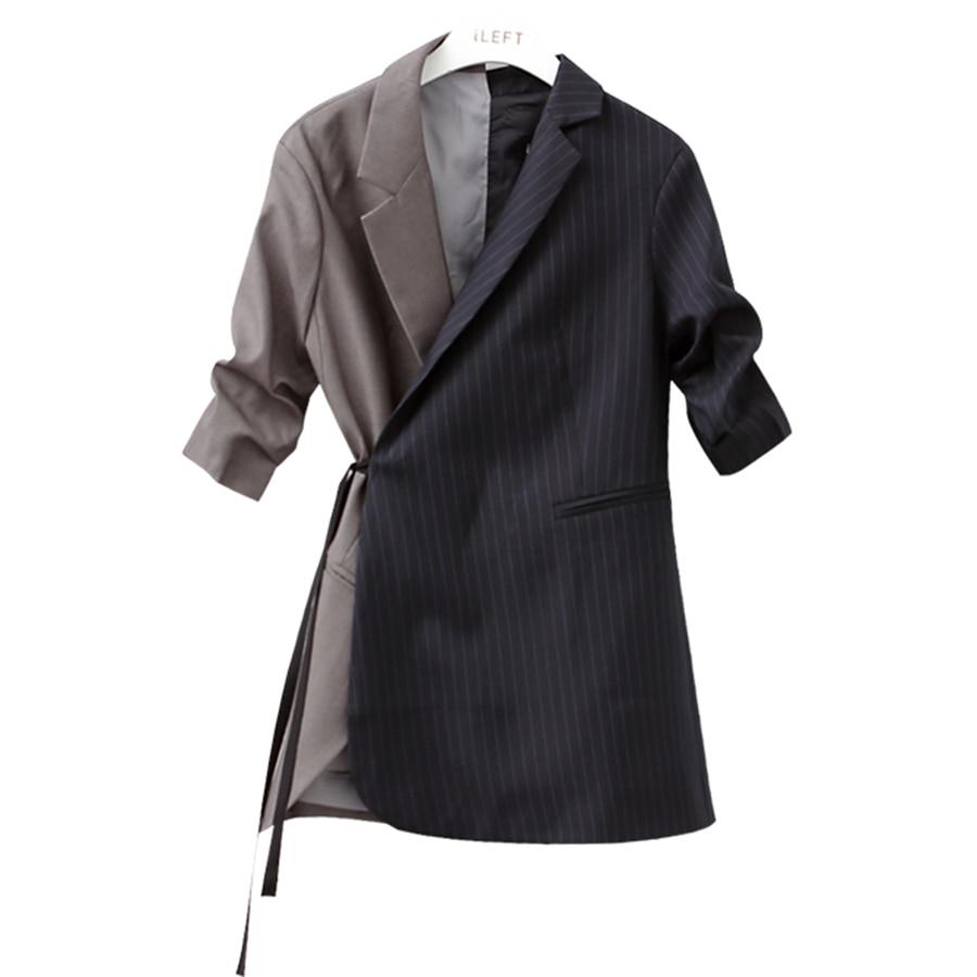 Pist çizgili blazer kadınlar ceket blazer Moda kravat bel ceketler - Bayan Giyimi - Fotoğraf 2