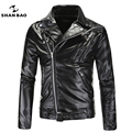SHANBAO Brand punk rock leather jacket multi-zip stitching lapel black motorcycle leather Slim male high-quality leather coat