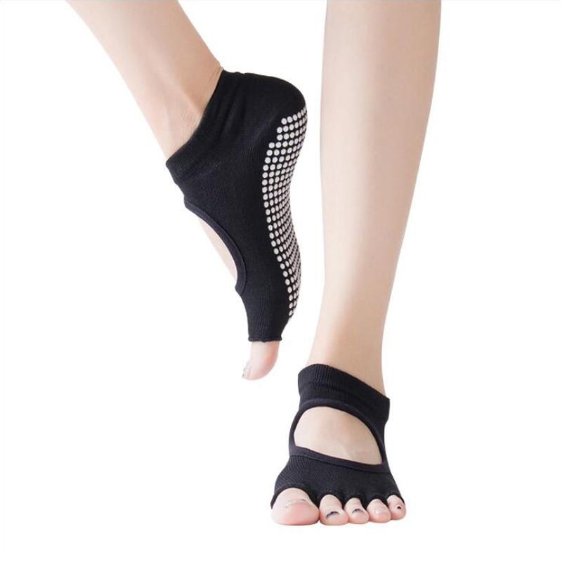 Women Yoga Socks Half Toe Backless 5 Fingers Socks Gym Fitness Sport Pilates Non Slip Cotton Socks Breathable Footwear Woman New