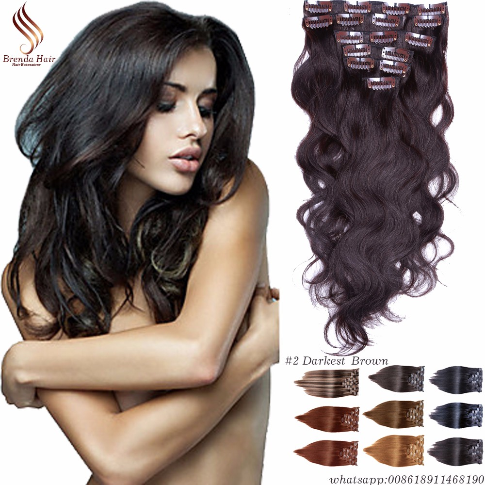 Clip in human hair extensions golden blonde #27 clip in hair extensions for black women Brazilian virgin human hair Clip-Ins 7PC