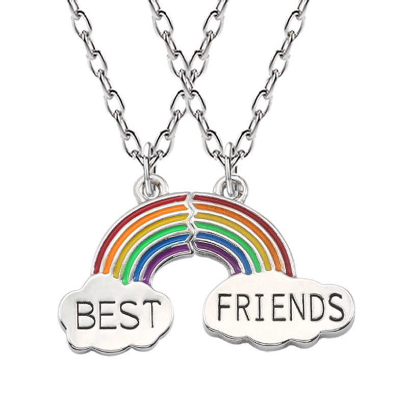 Best Friends Necklace A Pair Enamel Puzzle Rainbow Cloud Pendant Necklace Friendship Bff Jewelry Gift For Necklace Women