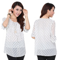 Korean white dot chiffon blouse for women, women chiffon shirt, black  women blouse, women tops and blouses 2014 new fashion