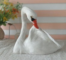 new creative simulation swan toy polyethylene&fur white goose doll gift about 21x25cm