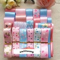 Free Shipping 28 Yards Small Fresh Pink Blue Style Ribbon Mix Style Printing Grosgrain Ribbon Bows
