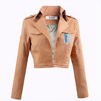 Free Shipping Attack On Titan Jacket Brown Cotton Coat Anime Cosplay Tops For Girl Scouting Legion